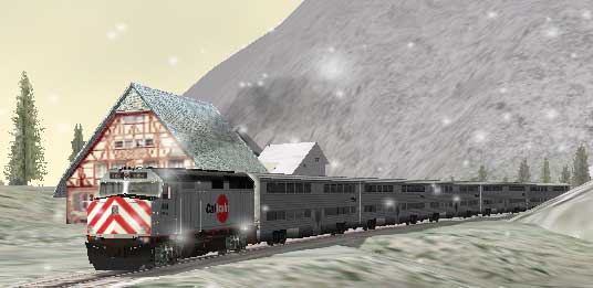 Caltrain 904 drives past a villa nestled in the mountainous Alps